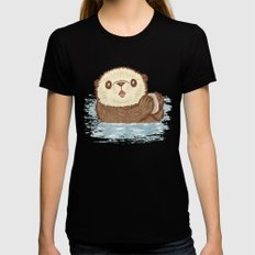 Sea otter Black Womens Fitted Tee MEDIUM