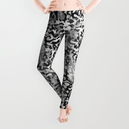Black, white and silver abstract pattern. Leggings