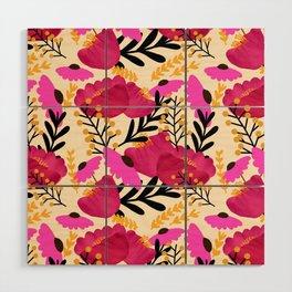 Vibrant Floral Wallpaper Wood Wall Art