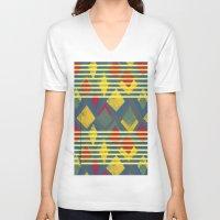 stripe V-neck T-shirts featuring Kite Stripe by lalaprints