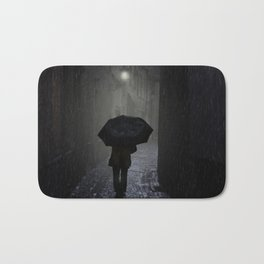 Night walk in the rain Bath Mat