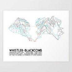 Whistler Blackcomb, BC, Canada - Minimalist Trail Map Art Print