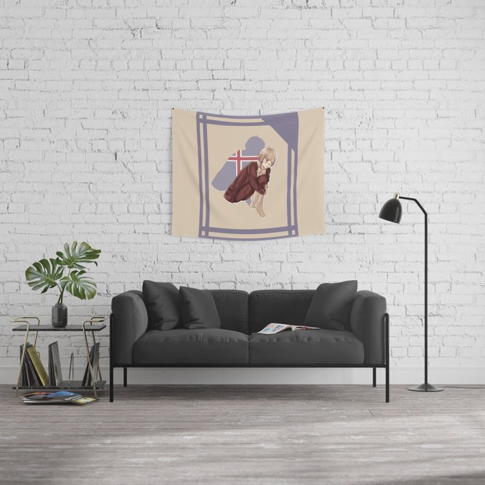 Aph Iceland Illustration Wall Tapestry
