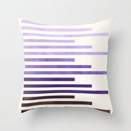 Purple Watercolor Gouache Minimalist Geometric Staggered Stripes Mid Century Art Throw Pillow