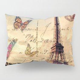 Vintage Paris-Carte Postale Pillow Sham
