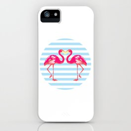Flamingo, Flamingo t-shirt, watercolor poster, pink in blue stripes, circle iPhone Case