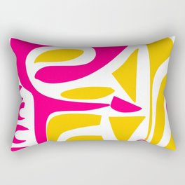 Summer Pop abstract pattern pink and yellow Rectangular Pillow