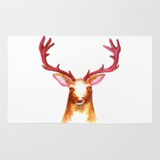 Deer Watercolor Print Rug