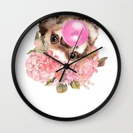 Baby Sloth with Flowers Crown Playing Bubble Gum Wall Clock