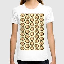 Brown Yellow Daisy Pattern,Retro T-shirt