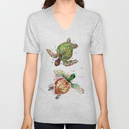 Turtles, Olive Green Cherry Colored Sea Turtles, turtle Unisex V-Neck