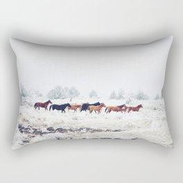 Winter Horse Herd Rectangular Pillow