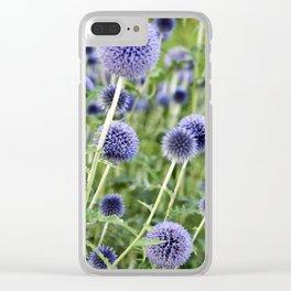 BLUE FLOWERHEADS - Botanical Garden Clear iPhone Case
