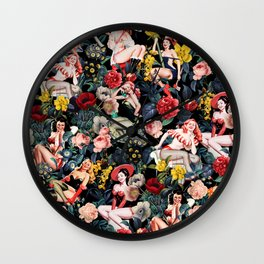 Floral and Pin-Up Girls IV Wall Clock