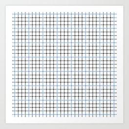 Dotted Grid Weave Blue Black Art Print