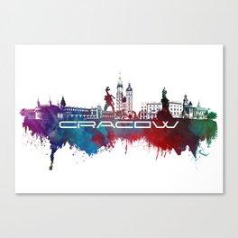 Cracow skyline city blue Canvas Print