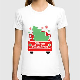 Merry christmas, car with christmas tree T-shirt