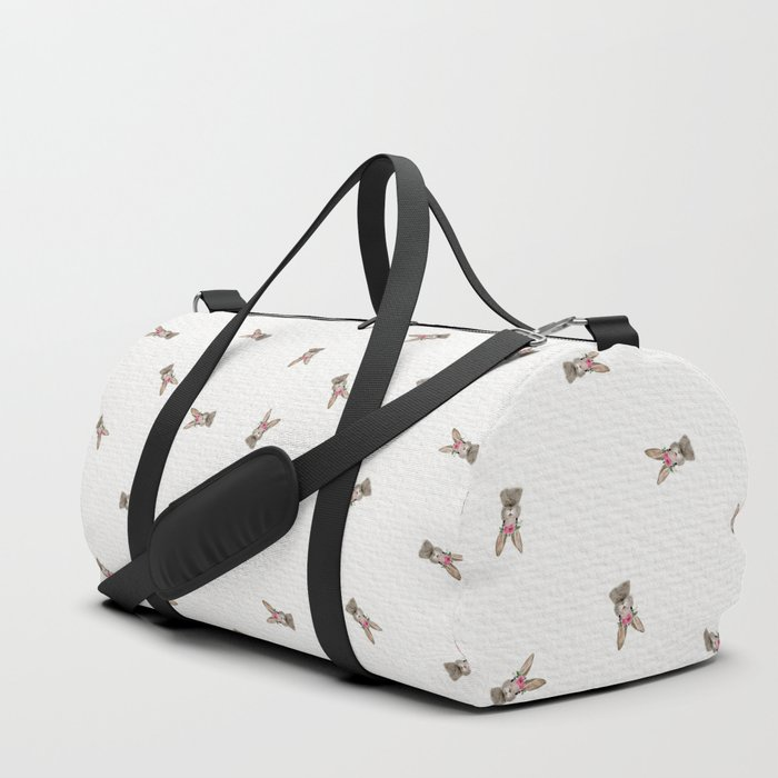 Baby Rabbit with Flower Crown Duffle Bag