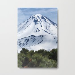 Beautiful winter mountainous landscape, snow-capped cone of volcano Metal Print