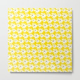 Daisies In The Summer Breeze - Yellow White Grey Metal Print