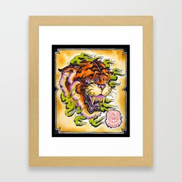 tiger and fire Framed Art Print