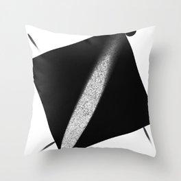 White Flash on Black Throw Pillow