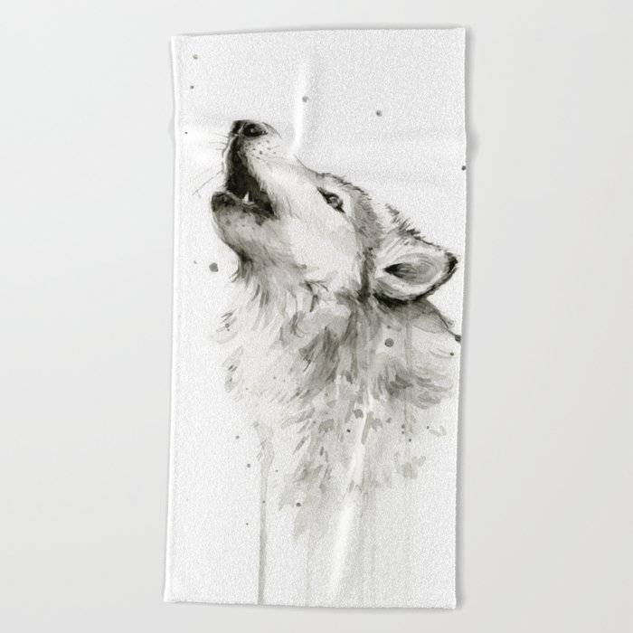Wolf Howling Watercolor Animals Painting Black and White Beach Towel