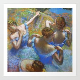 "Edgar Degas ""Dancers in blue"" Art Print"