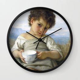 """William-Adolphe Bouguereau """"La tasse de lait (Cup of milk)"""" Wall Clock"""