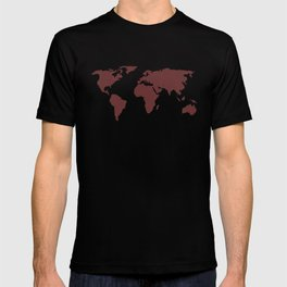World Map -  Crimson Red on Cream Linen T-shirt