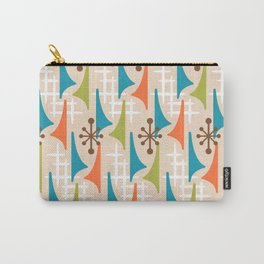 Mid Century Modern Atomic Wing Composition 66 Brown Orange Turquoise and Chartreuse Carry-All Pouch