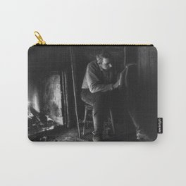 Vintage Adirondacks: Man Reading by the Fireplace Carry-All Pouch