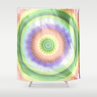 woodstock Shower Curtains featuring Mandala hippie times by Christine baessler