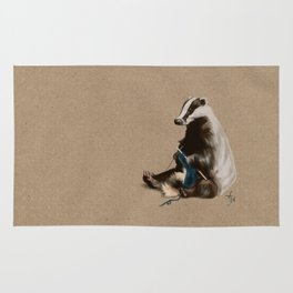 Badger Knitting a Scarf Rug