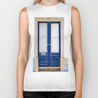 portugal Biker Tanks featuring Door Ericeira Portugal blue by Sébastien BOUVIER
