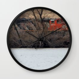 Train by River in late fall Wall Clock