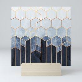 Soft Blue Hexagons Mini Art Print