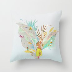 Aloha, Hawaii (Blue) Throw Pillow