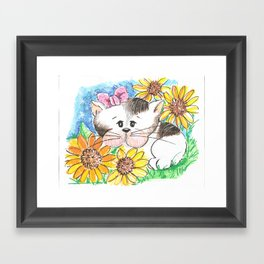 Marisol y los girasoles, the cat and the Sunflowers Framed Art Print