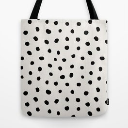 Modern Polka Dots Black on Light Gray Tote Bag