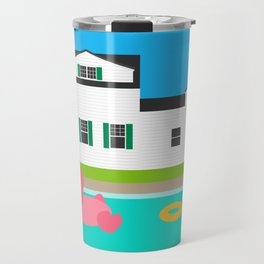 Summer House Pool Flamingo Float Backyard Travel Mug