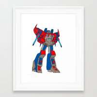 transformers Framed Art Prints featuring Transformers-Optimus by green.lime
