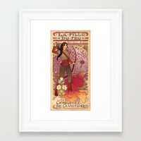 la Framed Art Prints featuring La fille du feu by Megan Lara