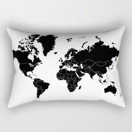 Minimalist World Map Black on White Background Rectangular Pillow