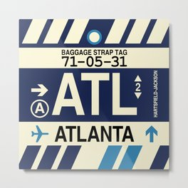 ATL Atlanta • Airport Code and Vintage Baggage Tag Design Metal Print