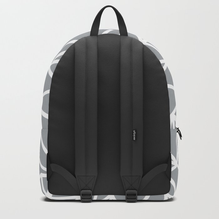 Abstract Outline Thick White on Grey Backpack