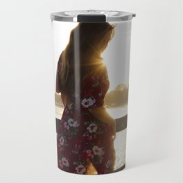 Red Flower Dress Travel Mug