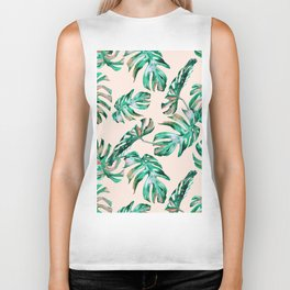 Tropical Palm Leaves Coral Greenery Biker Tank