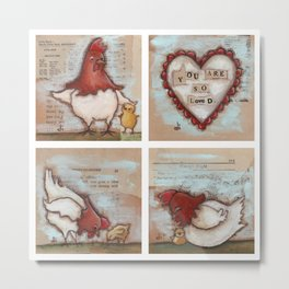 You Are So Loved Chickens - by Diane Duda Metal Print