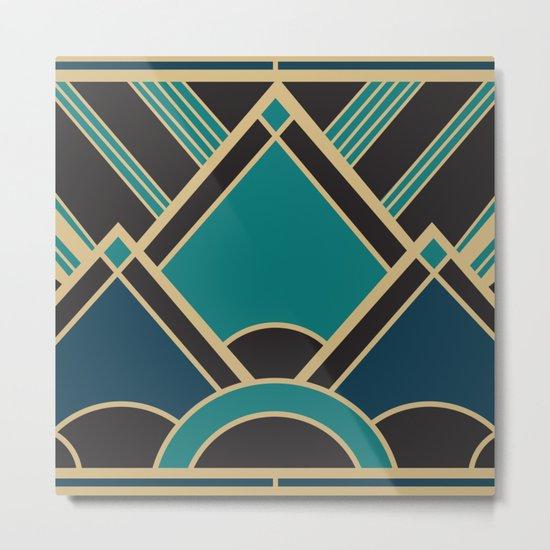 Art Deco New Tomorrow In Turquoise Metal Print